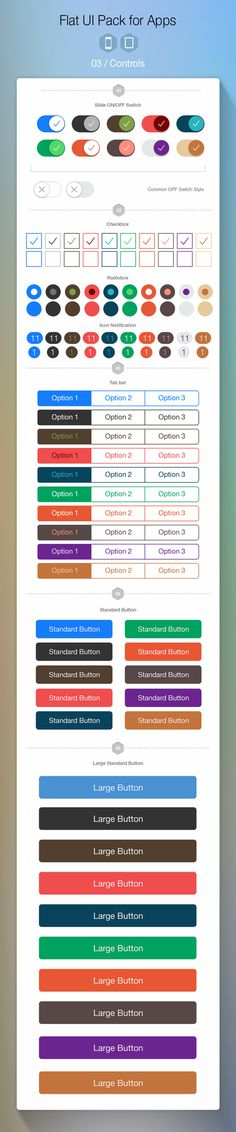 iOS 7 Controls #flat #ipad #button #ui #switches #iphone #app #slider