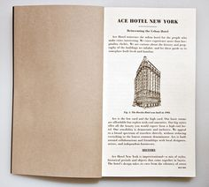 Ace Hotel / Press Kit / The Official Manufacturing Company #paper #book