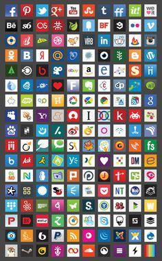 Basic Square Gradient Color Icons Set