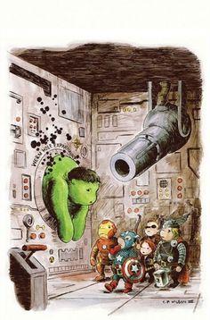 'The Avengers' Get The 'Winnie The Pooh' Treatment - DesignTAXI.com #winnie #hulk #thor #iron #pooh #the #avengers #illustration #marvel #man