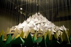 Paper Mt. Hood | Colossal #mountain #paper #art #installation