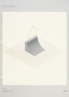 Concrete Heaven #isometric #concrete #skatepark #print #skate #poster #skateboard #paper