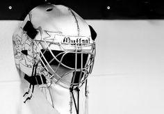 """Custom painted """"Outlast"""" goalie helmet. #drama #acrylic #outlast #helmet #custom #artwork #paint #photography #mask #cage #painting #art #goalie #hockey"""