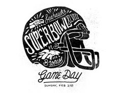 Superbowl XLVIII by Joshua Noom #super #broncos #helmet #bowl #illustration #drawn #hand #typography