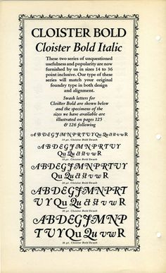 This is actually a specimen of a Monotype border font. The appearance of Cloister Italic is just a bonus. #type #specimen #typography