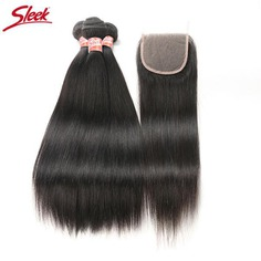 Best Cheap Sleek Brazilian Human Hair Natural Straight Closure at Cosmetize UK. it is original 100% human hair which has never been synthetically treated in our production line. it can be dyed and re-styled like your own hair. 100% Brazilian Human Virgin Hair Weave 4 Bundles with Lace Frontal Straight Bleached Knots With Baby Hair.