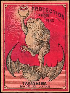 weirdvintage:Jumbo sized Japanese matchbox label, circa 1920 (via) #matchbox #bat #fire #vintage #protection #wings #frog