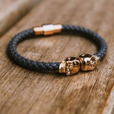 Twin Skull Leather Bracelet by North Skull #tech #flow #gadget #gift #ideas #cool