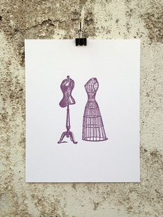 Mannequins - 8 x 10 Mini Poster #shopping #model #clothing #clothes #kitsch #retro #mannequin #shabby #illustration #chic #vintage #etching #retail #fashion