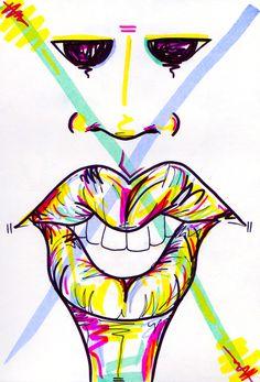 #18 / overwhelmed / 050414 by Chiamaka Ojechi #illustration #pastel #lips #markers #minimal