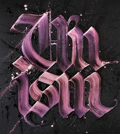 UNISM (2014) Acrylic and pearlescent paint on canvas, ± 160 x 180 cm. Changes color at an angle. #calligraphy #lettering #pearlescent #graffiti #gothic #paint #calligraffiti #art #canvas