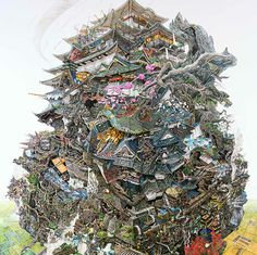 Artist Manabu Ikeda #city #illustration #drawing #surreal
