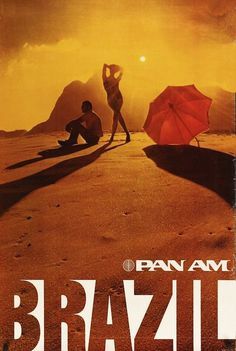 Pan Am Travel Poster for Brazil, 1974. Unknown artist. #poster