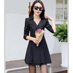 Fashion Spring Autumn Outerwear Female Double breasted lace elegant women's jacket Slim long Windbreaker Coats