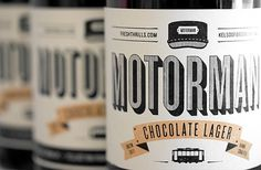 Freshthrills : Motorman Chocolate Lager #graphic design #typography #packaging