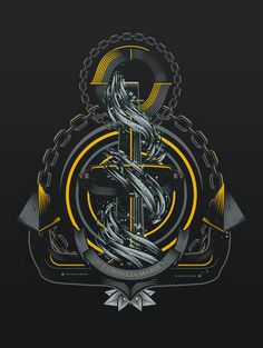 Stone Steel Project on behance #vector #water #yellow #black #sea #tatoo #anchor