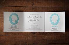 Jordan & Melissa Wedding | Lovely Stationery #script #wedding #invite #silhouette