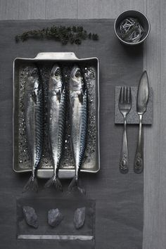 isabellavacchi - still life food interior photographer #photography #still life #sardines #food #dinner #eat #cutlery #fork #knife #fish #se