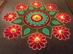 Diya Rangoli Diwali Rangoli Designs With Flowers
