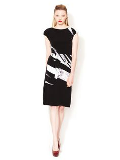 Silk Crepe Printed Patchwork Dress #fashion #dress #black #gilt