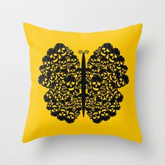 Kelebek #yellow #butterfly #pillow #deep #skull