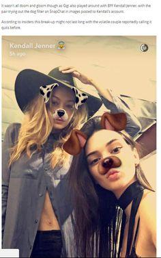 Gigi Hadid on Snapchat