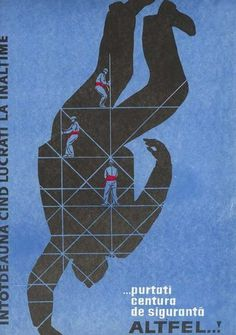 BLUE #romanian #1966 #safety #poster #labour