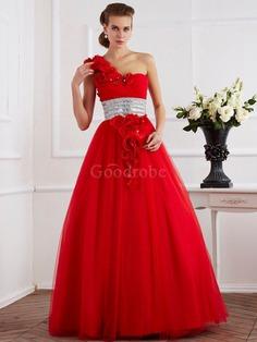 Robe de quinceanera longue de mode de bal avec perle d'épaule asymétrique avec fleurs