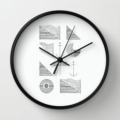 Navigation Wall Clock #pattern #design #wall #clock #navigation #typography