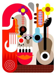 Music Festival Placard - abstract vector illustration. #yellow #eye #smile #music #flower #concert #decoration #fine #guitar #background #white #red #festival #flow #carnival #jazz #design #color #cover #poster #gray #face #banner #piano #dance #joker #sax #grey #vector #circus #graphic #decor #clown #sound #art