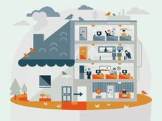 Dribbble - Home by Petros Afshar #illustration #vector #characters #house