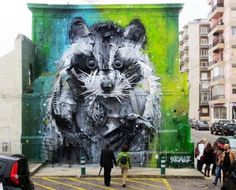 Tires and pieces of bumpers for the street artist Bordalo II