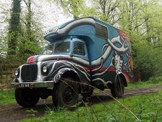 Colorful surreal street art on truck #abstract #surrealism #art #street #surreal