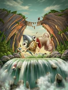 yes, tea on Illustration Served #piranha #macabre #illustration #strange #bloody