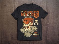THE KING MONSTER 666 on Behance #vector #black #shirt #devil #illustration #wood #poster #monster #666 #killer