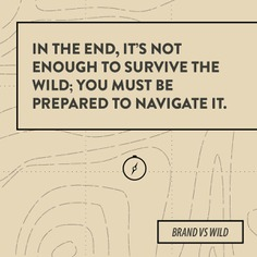 Navigate the wild—design, quote, map, survival, wilderness. For Brand vs Wild, a survival guide for business by Jonathan David Lewis, VP of McKee Wallwork + Co. | Designed by Brittany Byrne | MAP, TOPOGRAPHY