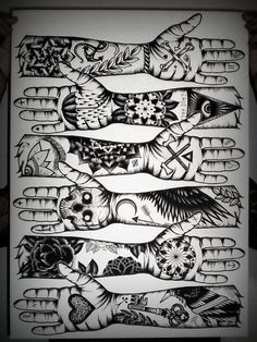 Tom Gilmour Tattoo #illustration #flash #tattoo #sleeve