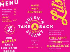 lil, bagels, breakfast, logo, pink, white, bold, star