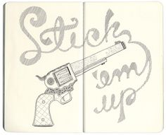 sketchbook-spread-4.jpg (1000×813) #lettering #gun #drawn #type #hand #typography
