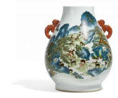 Large hu Vase of the hundred deer #porcelain