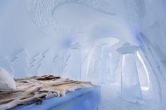 Ice hotel bedroom #hotel #ice #art