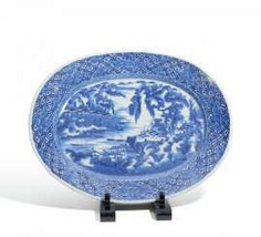 Large oval plate with a Chinese mountain landscape #porcelain