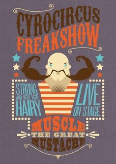 Work » Björn Siems » Design & Illustration #muscle #strong #vector #circus #freakshow #mustache #illustration #man #moustache