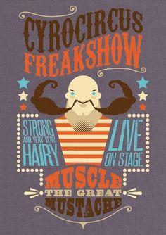 Work » Björn Siems » Design & Illustration #muscle #strong #vector #circus #freakshow #mustache #illustration #man #moustache