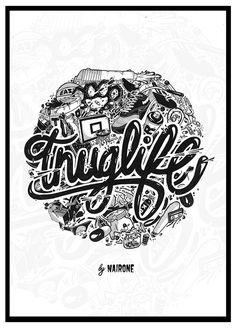 thug life - nairone #thug #white #black #illustration #drawn #and #hand #life