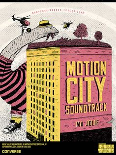 Converse Rubber Tracks Live on Behance #motion #city #print #design #helicopter #illustration #building #vintage #soundtrack #poster #music #dinosaur #art