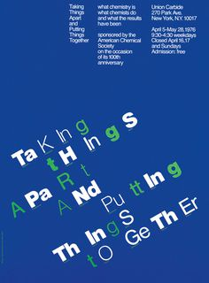 Taking Things Apart... Chermayeff & Geismar Associates, New York, New York, 1982 #typography #vintage #poster #usa