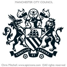 Corporate Identity Icons :: Epic Icons :: Chris Mitchell #logo #black #crest #manchester #ornate