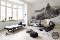 Cat #interior #mural #design #living #cat #home #decor #wall #scandinavian #room