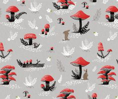 Mushroom pattern by Kayla King #mushroom #illustration #rabbit #pattern